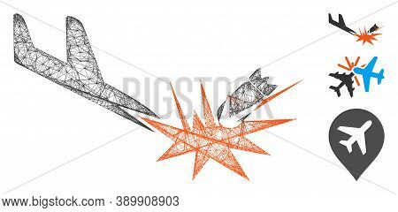 Mesh Aircraft Bomb Explosion Polygonal Web Symbol Vector Illustration. Carcass Model Is Based On Air
