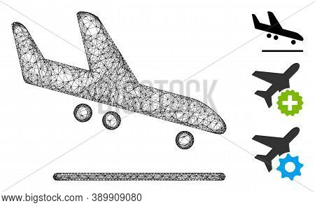 Mesh Airplane Arrival Polygonal Web Icon Vector Illustration. Abstraction Is Based On Airplane Arriv