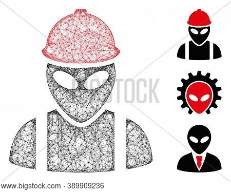 Mesh Alien Builder Polygonal Web Icon Vector Illustration. Carcass Model Is Based On Alien Builder F