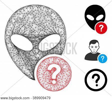 Mesh Alien Status Polygonal Web Icon Vector Illustration. Model Is Based On Alien Status Flat Icon.