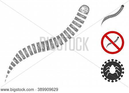 Mesh Annelid Worm Polygonal Web Icon Vector Illustration. Model Is Based On Annelid Worm Flat Icon.
