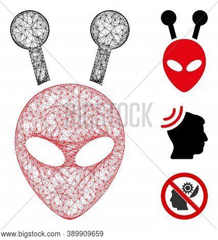 Mesh Antenna Alien Head Polygonal Web Icon Vector Illustration. Model Is Based On Antenna Alien Head