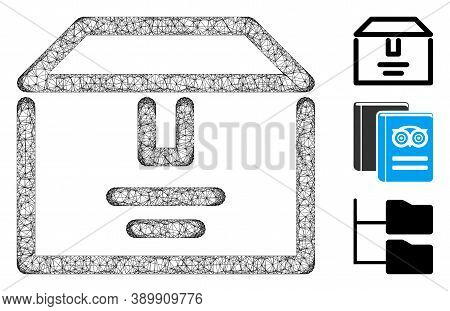 Mesh Archive Box Polygonal Web Icon Vector Illustration. Abstraction Is Based On Archive Box Flat Ic