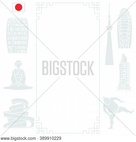 Vector Illustration Symbols Of Japanese Culture Asian Woman In Kimono, Sumo Athlete, Unusual Japanes