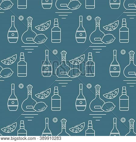 Seamless Pattern Vector Illustration Bottles Of Alcoholic Beverage, Cheese, Lemon. Liquor Store, Bar
