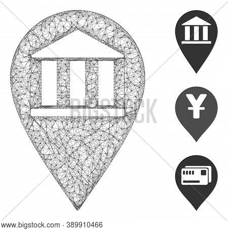 Mesh Bank Building Pin Polygonal Web 2d Vector Illustration. Abstraction Is Based On Bank Building P