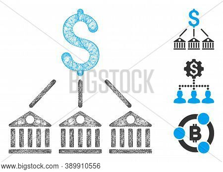 Mesh Bank Expenses Polygonal Web Icon Vector Illustration. Carcass Model Is Created From Bank Expens