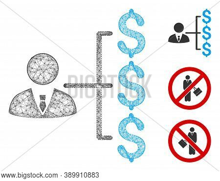 Mesh Banker Payments Polygonal Web 2d Vector Illustration. Carcass Model Is Created From Banker Paym