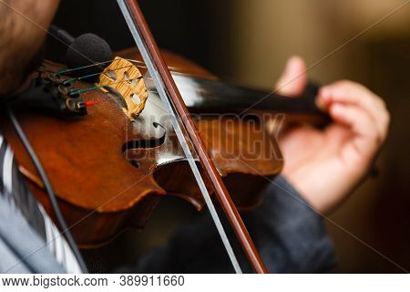 Playing Violin, A Man Plays Vintage Violin On A Concert, Close Up