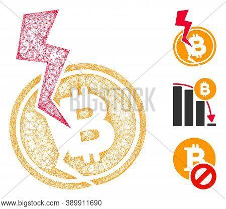 Mesh Bitcoin Crash Lightning Polygonal Web Icon Vector Illustration. Model Is Based On Bitcoin Crash