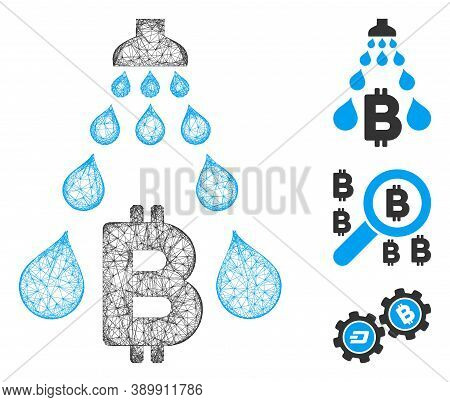 Mesh Bitcoin Laundering Shower Polygonal Web Icon Vector Illustration. Model Is Based On Bitcoin Lau
