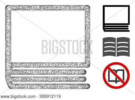Mesh Book Polygonal Web Icon Vector Illustration. Carcass Model Is Created From Book Flat Icon. Tria