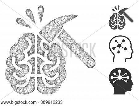 Mesh Brain Impact Polygonal Web Icon Vector Illustration. Model Is Created From Brain Impact Flat Ic