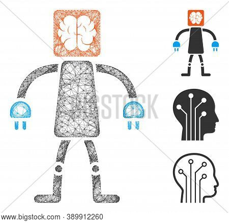 Mesh Brain Robot Polygonal Web Icon Vector Illustration. Carcass Model Is Created From Brain Robot F