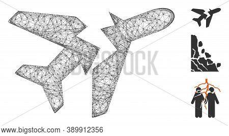 Mesh Break Airplane Polygonal Web 2d Vector Illustration. Carcass Model Is Based On Break Airplane F