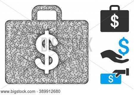 Mesh Business Case Polygonal Web Icon Vector Illustration. Model Is Based On Business Case Flat Icon