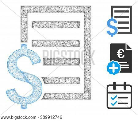 Mesh Business Contract Page Polygonal Web 2d Vector Illustration. Model Is Based On Business Contrac