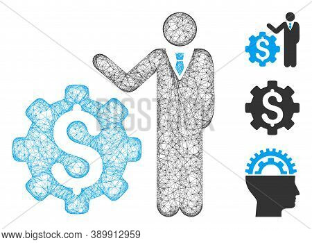 Mesh Businessman Options Polygonal Web 2d Vector Illustration. Model Is Based On Businessman Options