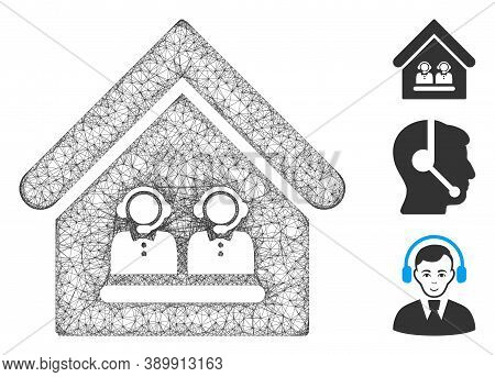 Mesh Call Center Office Polygonal Web Icon Vector Illustration. Carcass Model Is Based On Call Cente