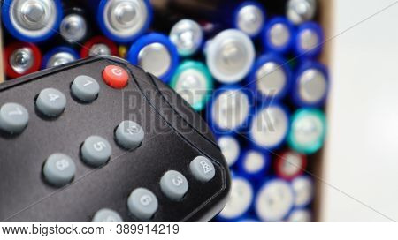 Tv Remote Control With Disposable Aaa And Aa Alkaline Batteries. Battery Replacement, Spare Parts. R