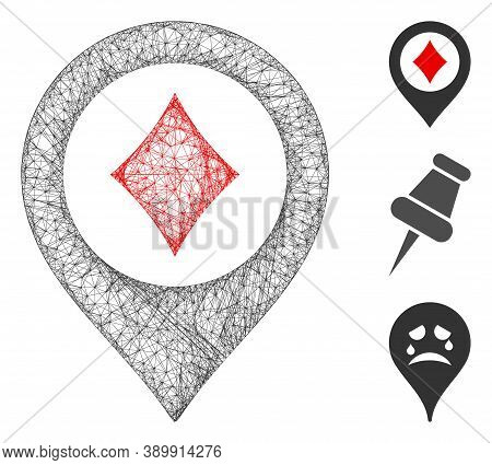 Mesh Casino Map Pointer Polygonal Web 2d Vector Illustration. Model Is Based On Casino Map Pointer F