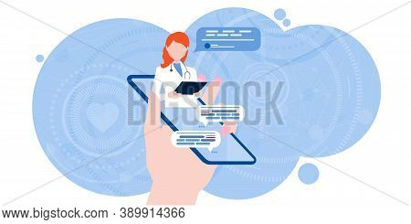 Online Chat With A Doctor. Smartphone Screen With A Therapist Chatting In The Messenger And Online C