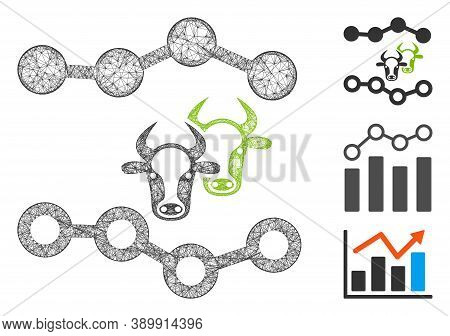 Mesh Cattle Dotted Charts Polygonal Web Icon Vector Illustration. Model Is Based On Cattle Dotted Ch
