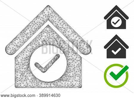 Mesh Check Building Polygonal Web Icon Vector Illustration. Carcass Model Is Based On Check Building