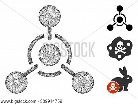 Mesh Chemical Weapon Polygonal Web Icon Vector Illustration. Carcass Model Is Based On Chemical Weap