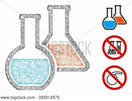 Mesh Chemistry Polygonal Web Icon Vector Illustration. Carcass Model Is Based On Chemistry Flat Icon