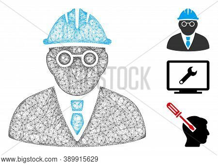 Mesh Clever Engineer Polygonal Web 2d Vector Illustration. Carcass Model Is Based On Clever Engineer