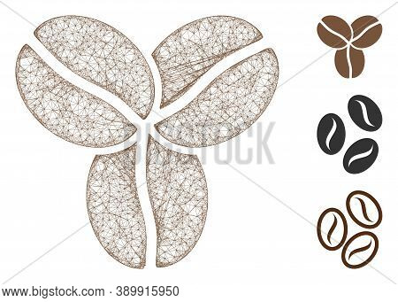 Mesh Coffee Beans Polygonal Web 2d Vector Illustration. Carcass Model Is Based On Coffee Beans Flat