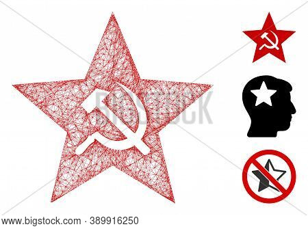 Mesh Communism Star Polygonal Web 2d Vector Illustration. Carcass Model Is Based On Communism Star F