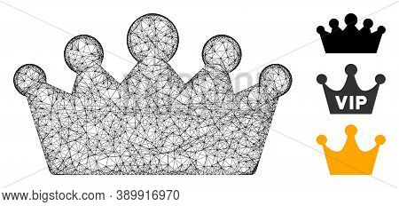 Mesh Crown Polygonal Web Icon Vector Illustration. Abstraction Is Based On Crown Flat Icon. Triangul