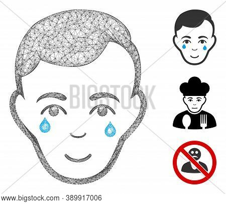Mesh Crying Man Face Polygonal Web 2d Vector Illustration. Abstraction Is Based On Crying Man Face F