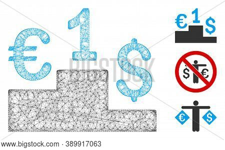 Mesh Currency Competition Polygonal Web Icon Vector Illustration. Carcass Model Is Based On Currency