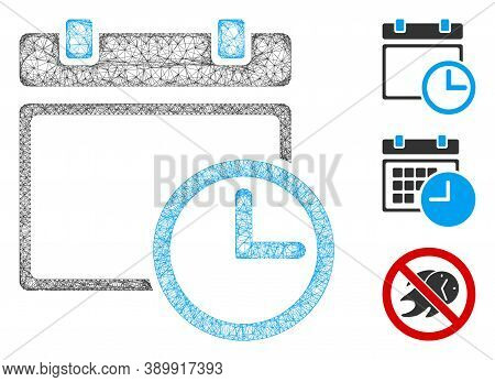 Mesh Date And Time Polygonal Web Icon Vector Illustration. Carcass Model Is Based On Date And Time F