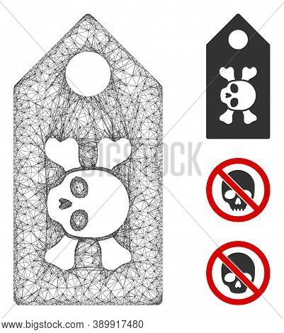 Mesh Death Label Polygonal Web Icon Vector Illustration. Carcass Model Is Created From Death Label F