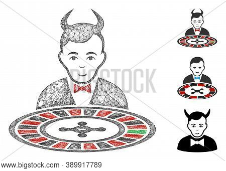 Mesh Devil Roulette Croupier Polygonal Web 2d Vector Illustration. Model Is Based On Devil Roulette