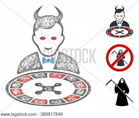 Mesh Devil Roulette Dealer Polygonal Web Icon Vector Illustration. Carcass Model Is Based On Devil R