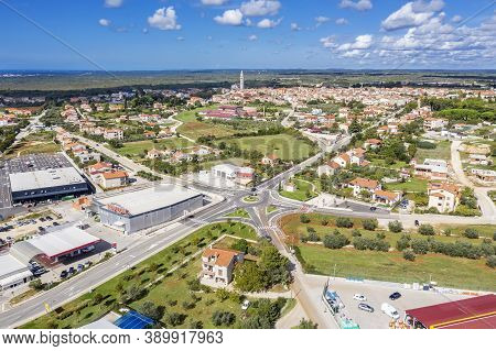 Vodnjan, Croatia - October 6, 2020 - An Aerial View Of Vodnjan, In Background The Parish Church Of S