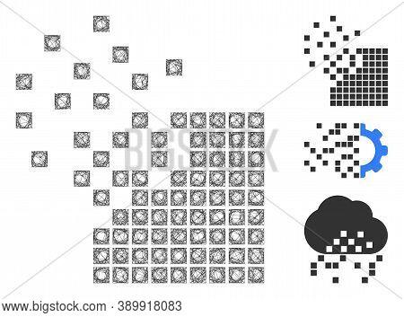 Mesh Dissolving Pixel Mosaic Polygonal Web Symbol Vector Illustration. Model Is Based On Dissolving