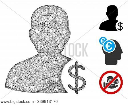 Mesh Dollar Account Client Polygonal Web 2d Vector Illustration. Model Is Based On Dollar Account Cl