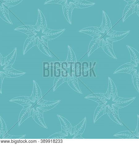 Childrens Texture. Vector Seamless Pattern With Starfish. Marine Backgrounds. Sea Theme. Vintage Ill