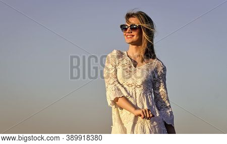 Emotional Girl. Happy. Girl White Dress Feel Free. Leisure And Rest. Summer Relax. Sunny Day. Carefr