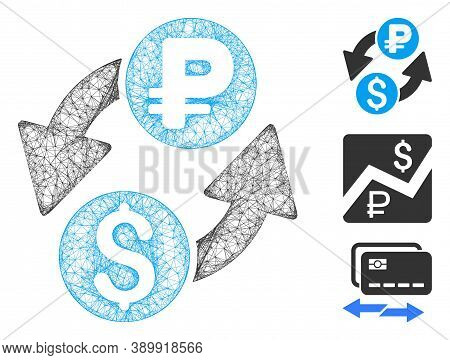 Mesh Dollar Rouble Exchange Polygonal Web Icon Vector Illustration. Carcass Model Is Based On Dollar