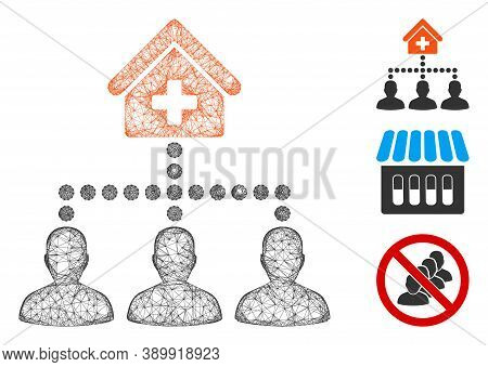 Mesh Drugstore Clients Polygonal Web Icon Vector Illustration. Carcass Model Is Based On Drugstore C