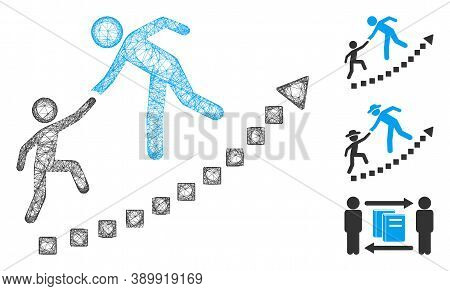 Mesh Education Growth Polygonal Web Icon Vector Illustration. Carcass Model Is Based On Education Gr