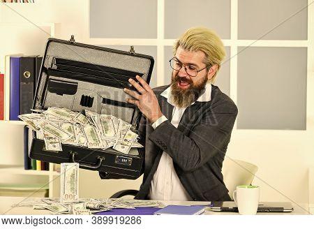Bank Account. Credit And Cash Concept. Corporate Finance. Economics Concept. He Loves Money. More Sa