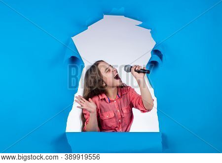 Born To Rock. Child Have Fun On Party. Happy Singer With Microphone. Girl Singing. Vocal School Conc